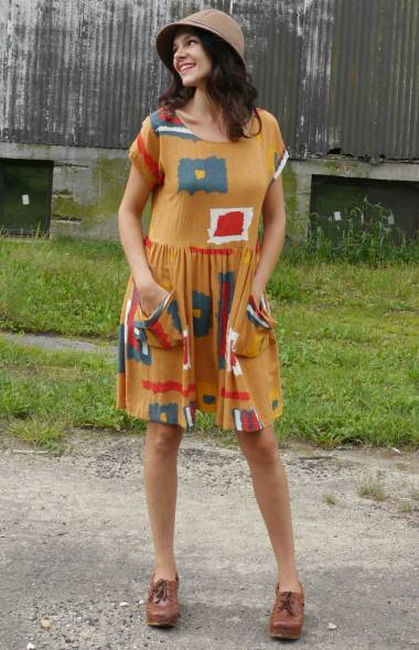 Curry Geometric Pocket Dress with dirndl skirt.