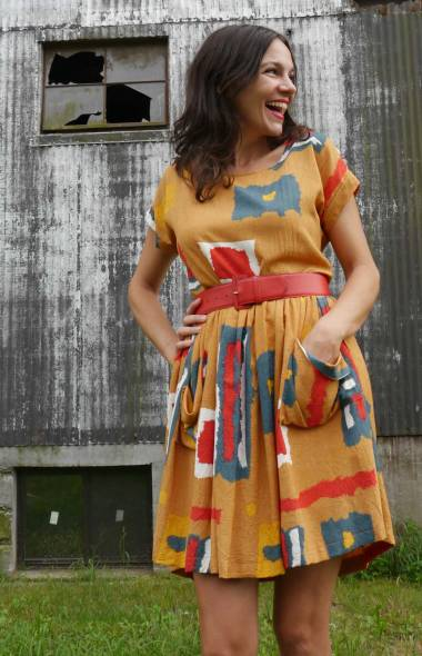 Curry Geometric Pocket Dress with vintage belt.