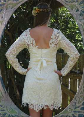 Custom Dress with removable lace top. {back}