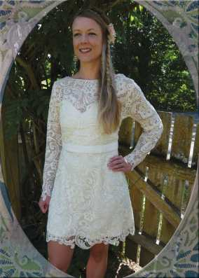 Custom Dress with removable lace top. {front}