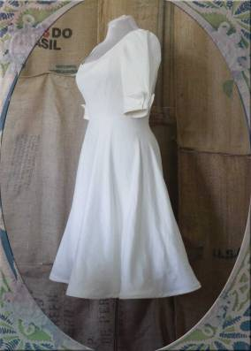 Vintage-Inspired Linen Wedding Dress.