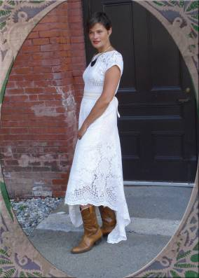 Made from a Vintage Lace Tablecloth with cotton muslin sash.